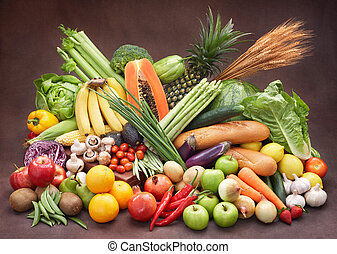 新鲜的蔬菜, 同时,, 水果