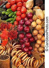 新鲜的蔬菜, 同时,, bread, 品种