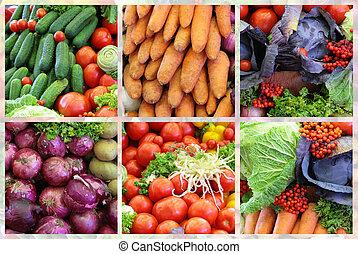 新鲜的蔬菜, 品种, 拼贴艺术