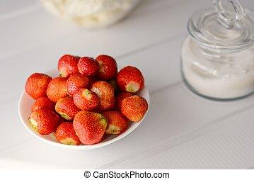 新鲜, 充足, 碗, strawberries., 红