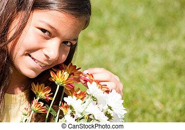 新鲜, 喜欢, 花, 她, 孩子