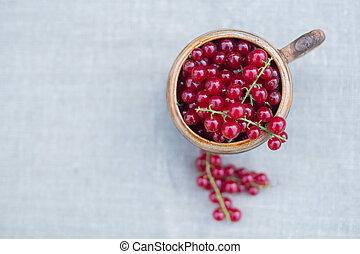 新鲜, 无核小葡萄干, 桌子, 红的杯