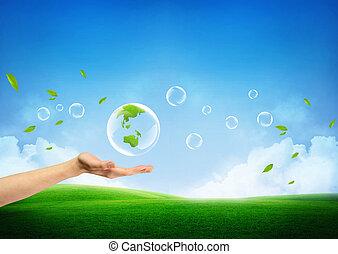 新鲜, 概念, 绿色的地球, 新