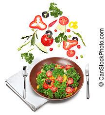 新鲜, 色拉, 同时,, 落下, 蔬菜