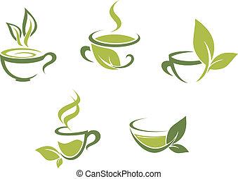 新鲜, 茶, 同时,, 绿色的树叶