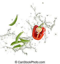 新鲜, 辣椒, 同时,, 豌豆