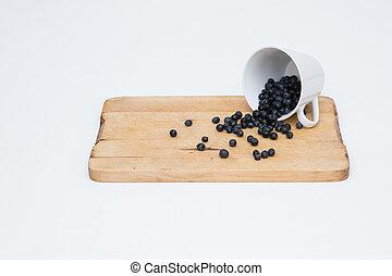 新鲜, blueberryes, 充足, forrest, 杯