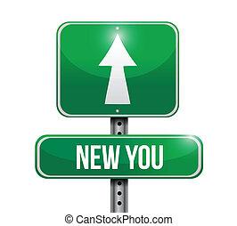 新, 你, 路標, 插圖, 設計