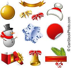 新, 元素, 設計, 聖誕節, 年