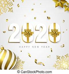 新, 卡片, 礼物, 2020, 假日, 金子, 年, 装饰