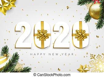 新, 卡片, 礼物, 2020, 白色, 金子, 年, 数字, 盒子