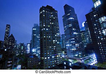 新, 城市, 約克, 夜晚
