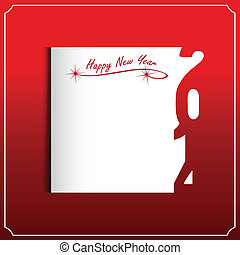 新, 开心, 2014, 卡片, 年
