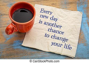 新, 机会, 每天, 另一个