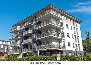 新, 灰色, multi-family, 房子, 在中, 柏林