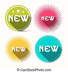 新, 鮮艷, 星星 成形, 紙, 標籤, -, 屠夫, 集合