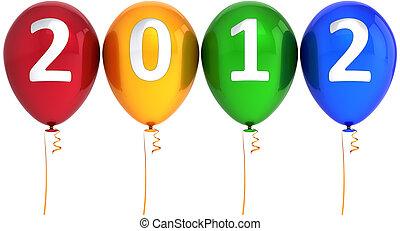 新, 2012, 气球, 愉快, 年