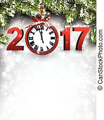 新, 2017, 背景, clock., 年