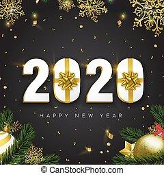 新, 3d, 卡片, 礼物, 2020, 假日, 金子, 年, 装饰