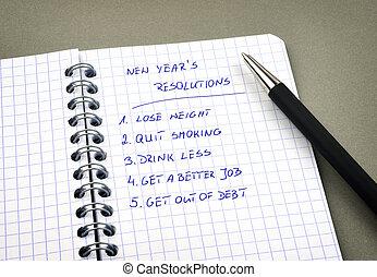 新, resolutions, 列出, 年` s