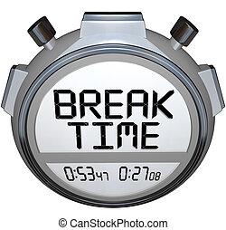 斷開時間, stopwatch, 定時器, 鐘, 暫停, 為, 休息