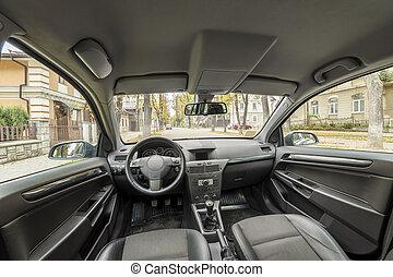 方向盤, 汽車, concept., 現代, 儀表板, 豪華, 變速杆, 設計, interior., 舒適, 技術, 運輸, seats.