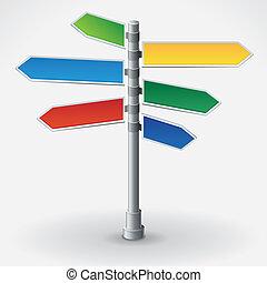 方向, 不同, 矢量, 路标