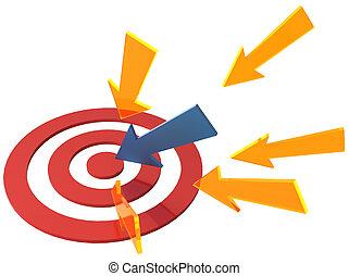 方向, 中心点, ターゲット, 矢, ポイント