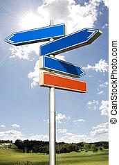 方向, 空, 矢, 隔離された, roadsign, 空