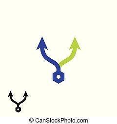 方向, 頭, 方法, 単純である, 印。, 2, 色, 3倍になりなさい, arrows., 矢