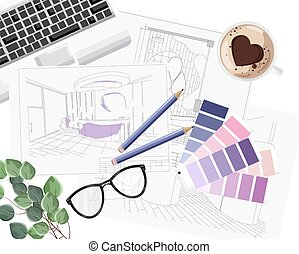 方式, ガイド, キーボード, コーヒー, 内部, 心, デザイナー, スケッチ, 形, 机, 色