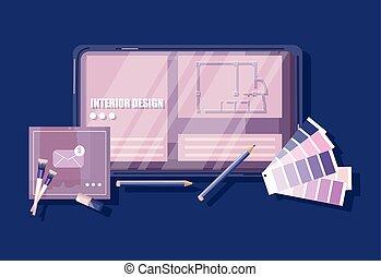 方式, ガイド, キーボード, pencil., コーヒー, 心, overhead., ベクトル, architectors, デザイナー, スケッチ, ガラス, 机, 色, 形。, pantone