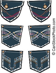 方式, 牛仔裤, 往回袖珍, 设计, 女士