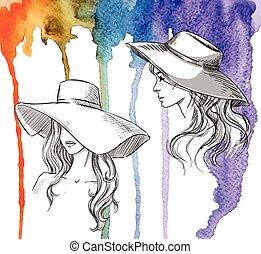 方式, illustration., 女孩, 在中, 帽子