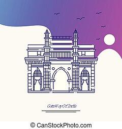 方法, 紫色, ポスター, 旅行, インド, 創造的, 背景, 門, template.