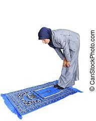 方法, muslim, 若い, 伝統的である, 女性, 祈ること, すてきである