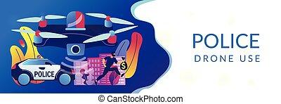 施行, 旗, header., 法律, 概念, 無人機