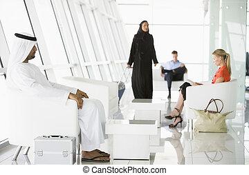 旅客, 等待, 在, 機場, 候机大廳