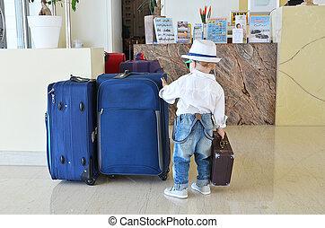 旅行者, ホテル, 若い, ロビー
