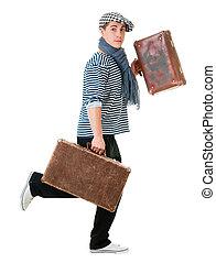 旅行者, 動くこと, 型, スーツケース
