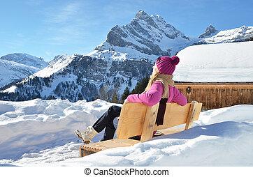 旅行者, 喜欢, 阿尔卑斯山, panorama., 瑞士