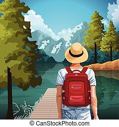 旅行者, 山, 地位, 風景, 湖, 美しい