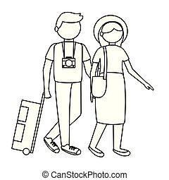 旅行者, 恋人, ベクトル, デザイン, 隔離された