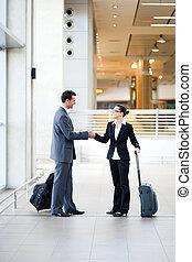 旅行者, 空港, ミーティング, ビジネス