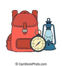 旅行袋, ランプ, コンパス, 灯油, ガイド
