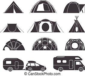 旅行車, 自然, 露營, 帳篷