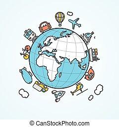 旅行, そして, 交通機関, concept., ベクトル