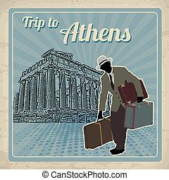旅行, へ, アテネ, レトロ, ポスター