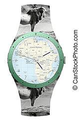 旅行, へ, アフリカ, 腕時計