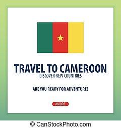 旅行, へ, cameroon., 発見しなさい, そして, 探検しなさい, 新しい, countries., 冒険,...
